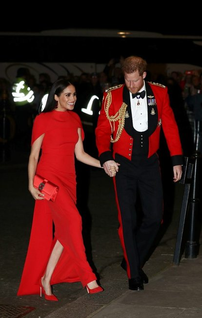 Meghan markle red Safiyaa gown