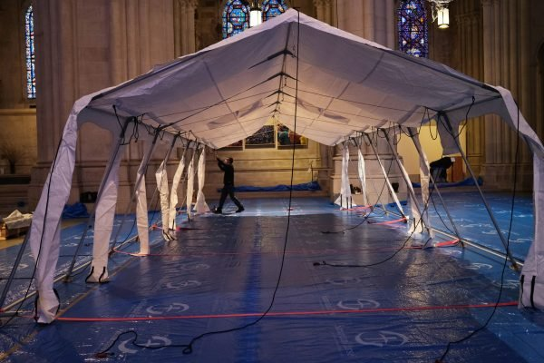 Field Hospital Set Up At Cathedral Of St. John The Divine As City Fights To Contain Coronavirus