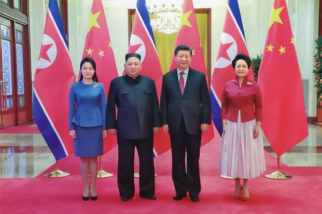 Meeting between Kim Jong-un and Xi Jinping and their wives in Pyongyang, in January 2019, North Korea.